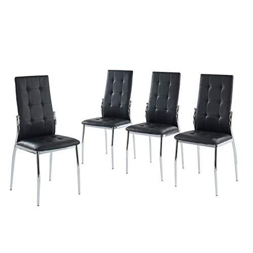 Juego de 4 sillas de comedor ALMA - En metal negro - L 46 x P 50 x H 100 cm