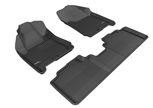 3D MAXpider Complete Set Custom Fit All-Weather Floor Mat for Select Cadillac SRX Models - Kagu Rubber (Black)