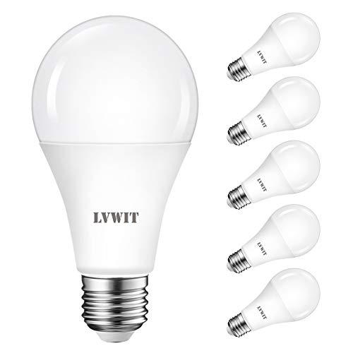 LVWIT Bombillas LED A67, Casquillo E27, equivalente a 120W, 6500K Luz Blanca Fría,1900 lm, Bajo consumo, No regulable - Pack de 6 Unidades.