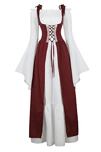 Womens Renaissance Cosplay Costume Medieval Irish Over Dress and Chemise Boho Set Gothic High Waist Gown Dress Wine Red-XL