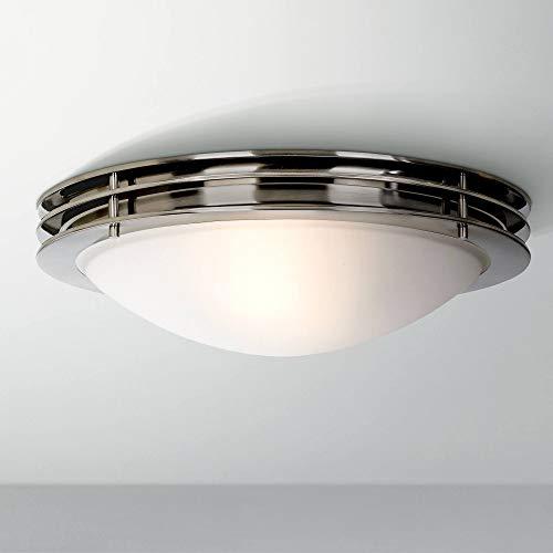 "Modern Ceiling Light Flush Mount Fixture Brushed Nickel 16"" Wide White Glass Bowl for Bedroom Kitchen Living Room Hallway Bathroom - Possini Euro Design"