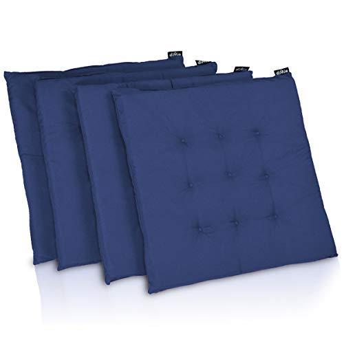 diMio Stuhlkissen 40x40 x 3,3cm in 18 Farben - Schicke Landhaus Sitzkissen, weich gepolstert (4er Pack, Royalblau)