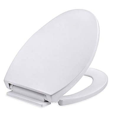 Elongated White Plastic Toilet Seat, Slow Close with Non-Slip Bumpers & Easy Change Hinges, Never Loosen, No Slam Quiet for Standard Elongated or Oblong Toilets, Durable Material