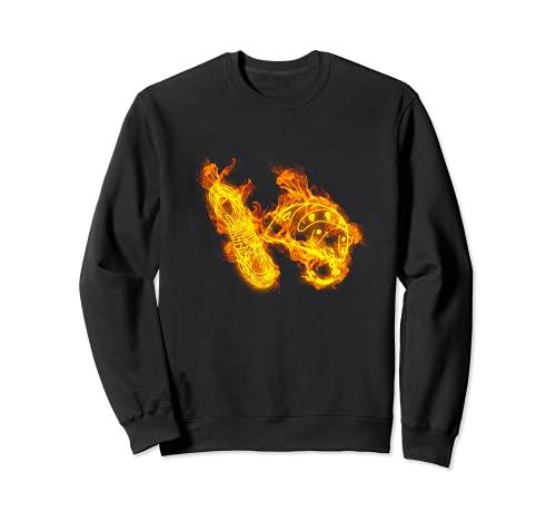 Feu Corde Et Casque D Escalade Flammes Rocher Grimpeur Sweatshirt