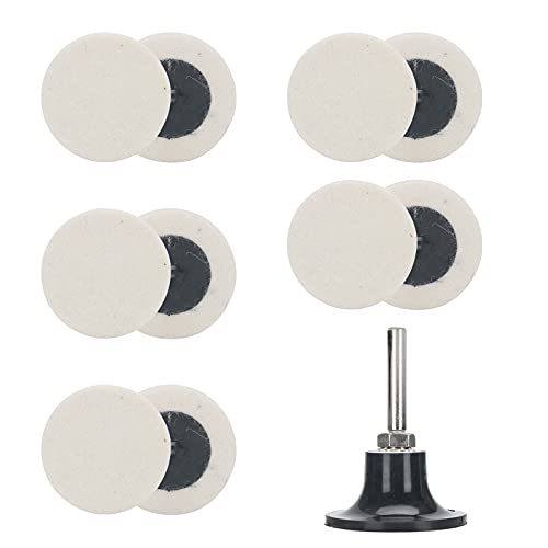 """10Pcs 2"""" Disc Polishing Buffing Pads, Quick Change Wool Roloc Style Polishing Buffing Wheel Pad + 1Pcs 1/4"""" Shank 2"""" Disc Pad Holder for Die Grinder Surface Polishing and Buffing"""