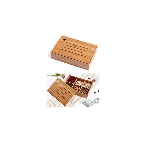 Heng Bamboe massief hout gedroogd fruit doos met deksel houten fruitschaal Europese fruitschaal multifunctionele snack Candy box, 33x23x6.5cm