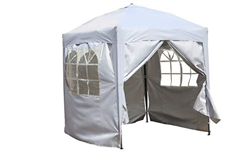BIRCHTREE Waterproof 2m x 2m Pop Up Gazebo Marquee Garden Awning Party Tent Canopy 210D Oxford Cloth Powder Coated Steel Frame With Anchor Kits White