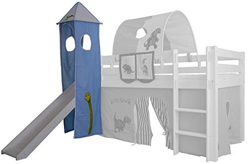 XXL Discount Turm-Vorhang 100% Baumwolle für Hochbett Spielbett Stockbett Kinderbett Kinderzimmer Spielturm mit Turmgestell (Blau/Weiß, Dino)