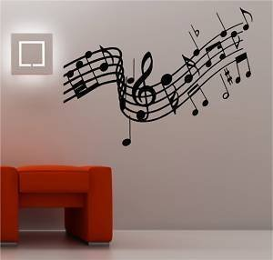 Online Design Enorme Notas Musicales Música Adhesivo Pared Lounge Vinilo - Negro