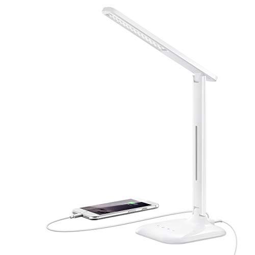 Lampara Escritorio LED 10W con 25 Modos, TOPELEK Flexo Escritorio 42 LED con 5 Niveles de Brillo y 5 Tonos de Color, Puerto USB de Carga y Control Tactil para Trabajo, Estudio y Lectura, Blanco