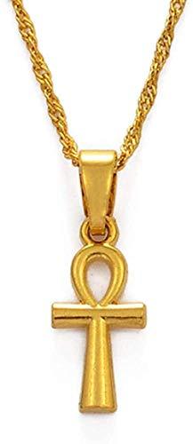 BACKZY MXJP Collar Colgante Mujeres Niñas Color Dorado Cruz Egipcia Africana Encantos Joyería Egipto Jeroglíficos Crux Longitud 60Cm