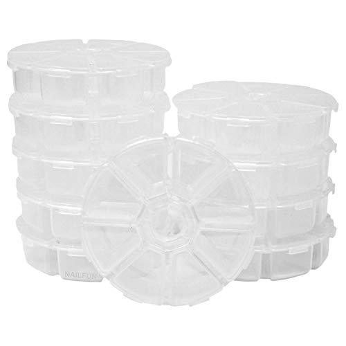 10 Sortierboxen Aufbewahrung transparent rund 8 Fächer jedes Fach einzeln zum öffnen - ø 10cm - Rondell