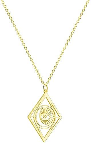 Yaoliangliang Collar de Ojo Malvado de rombo, Colgante geométrico para Mujer, Cadena de Oro, joyería, Collares árabes Indios, Regalo