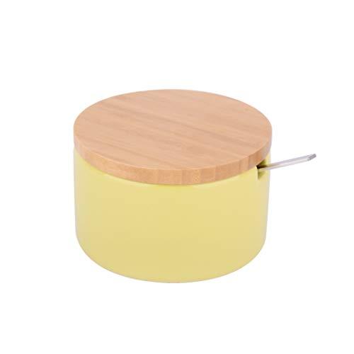 KOOK TIME Zuccheriera Formaggiera in Ceramica con Coperchio in Legno di bambù e cucchiaino da Zucchero in Acciaio Inossidabile, per Casa e Cucina, sirve per Zucchero, Formaggio, spezie, (Nordic Lime)