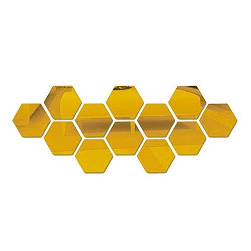 12 stuks zeshoekige 3D acryl spiegel muursticker verwijderbare muur kristal stereo spiegel sticker Home decor gespiegelde decoratieve sticker, goud, 46x40x23mm