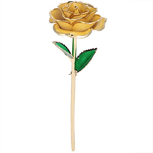 """Beufee 11"""" Long Stem 24k Gold Dipped Real Rose Flower Valentine Birthday Gifts for Her AnniversaryWedding and Proposal Gift Silk Flower Arrangements"""