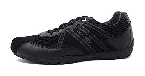 Geox RAVEX U923FB Herren Low-Top Sneaker,Männer Halbschuh,Sportschuh,Schnürschuh,atmungsaktiv,SCHWARZ,45
