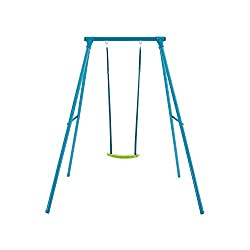 A robust single swing set in attractive blue and lime colourway 60 kg maximum user weight and supplied with ground stakes that must be concreted in Suitable for children from 3-12 years, full instructions included All in one box and easy to assemble ...