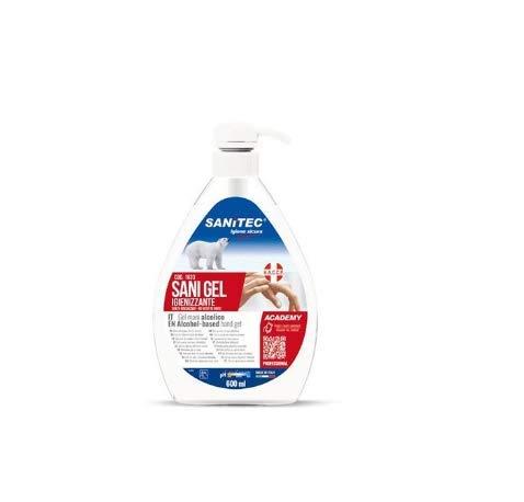 6 x Gel desinfectante manos alcohol sin aclarado antibacteriano con dispensador, 600 ml, 100% fabricado en Italia.