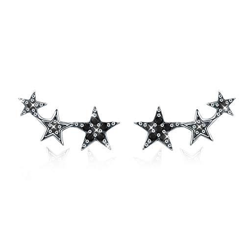 Pendientes Mujer Plata de Ley circonia negra estrella ear cuffs antialergicos Pendientes regalos día de aniversario para Niña