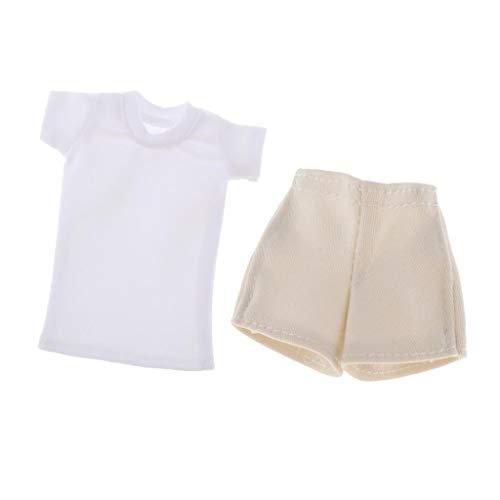 #N/A Ropa de muñeca de Figura Femenina a Escala 1/6, Disfraz Hecho a Mano, Camiseta Blanca y Pantalones Cortos de Mezclilla/Falda para Accesorios de muñeca - Style1