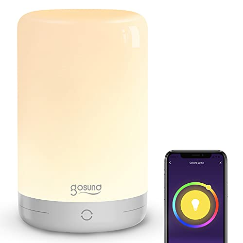Smarte Led Nachttischlampe, Alexa Tischlampe 2700K~3100K 350LM, Wlan Nachttischlampe Touch Dimmbar für Schlafzimmer und Arbeitszimme, Kompatibel mit Alexa und Google Home, RGB+W, 2.4GHz