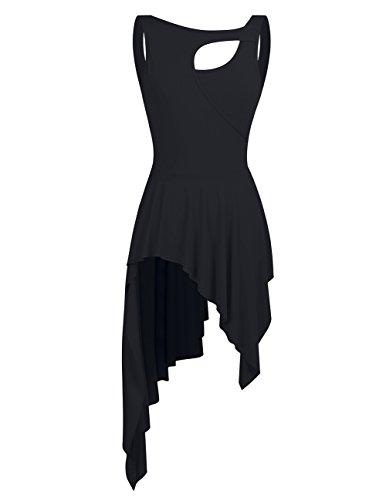 YiZYiF Damen Ballett Trikot Ballettanzug Latein Tanz-Kleider Gymnastikanzug Turnanzug Leotard mit Asymmetrisch Rock Schwarz X-Large
