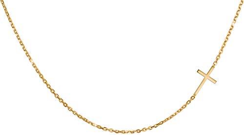 day.berlin - Collar para mujer con colgante de cruz, acero inoxidable y oro (45 cm de largo), con cierre de mosquetón