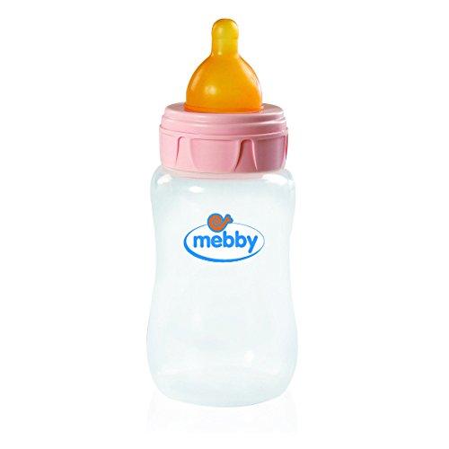 Mebby 92621 biberón con válvula anti-cólicos y aspiración de látex, 300 ml, rosa