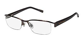 Trussardi 12721 Mens/Womens Designer Half-rim Flexible Hinges Shape Premium Quality Eyeglasses/Glasses  52-18-135 Brown
