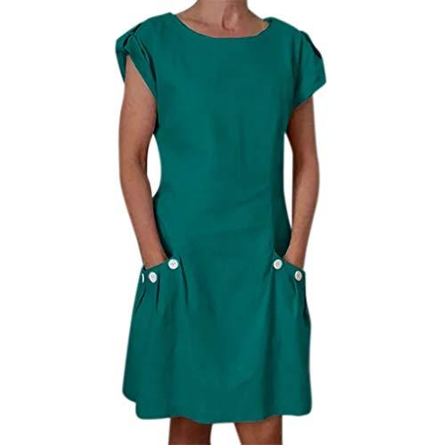 VEMOW Vestido Mujer Vestimenta Casual para Mujer Bolsillos con Volantes sólidos O-Cuello Vestidos abotonados para decoración(F Verde,2XL)