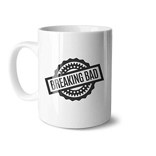 Breaking Bad Logos Taza de café de cerámica blanca adecuada para tazas de dibujos animados de vacaciones de gran tamaño 11oz