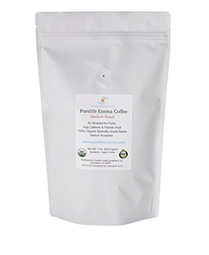 PureLife Enema Coffee- 1 Lb - Organic Gerson Specific - Ground - Mold & Fungus Free - Air Roasted Medium/Shipped Fresh