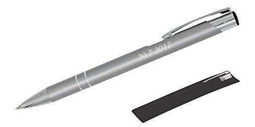 Mitbringsel & Geschenk in Premium-Qualität: personalisierter Metall-Kugelschreiber mit Gravur, Stift mit Name (Silber)