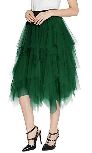 Urban CoCo Women's Sheer Tutu Skirt Tulle Mesh Layered Midi Skirt (S, Dark Green)