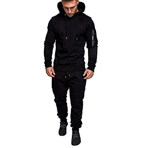 Sweat Suits Mens Jogging 2 Piece Hoodie+Sweatpants Pockets Colorblock Tracksuit Sets Casual Comfy Jacket Activewear