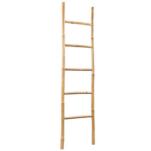 EBTOOLS- Handtuchleiter, Bambus Leiter als Handtuchhalter oder Kleiderständer 5 Sprossen für Bad oder Balkon, 150 cm