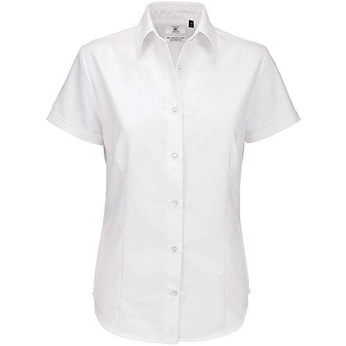 B&C Damen Oxford Bluse, kurzarm (S) (Weiß)