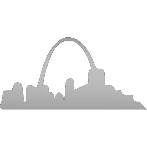 NBFU Decals Gateway Arch St. Louis Missouri (Metallic Silver) (Set of 2) Premium Waterproof Vinyl Decal Stickers for Laptop Phone Accessory Helmet Car Window Bumper Mug Tuber Cup Door Wall Decoration