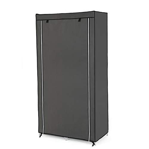 LCSA Kleiderschrank Faltschrank 88x170x45cm Stoffschrank Garderobe Aufbewahrung Regal (Color : Grau)