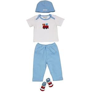 "Elegant Baby""Choo Choo"" 100% Cotton Fashion Set in Drawstring Bag 0-6 Months"