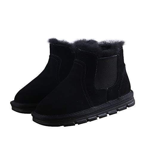 Girls Winter Warm Snow Boots Kids Fur Lined Boots Toddler Outdoor Elastic Shoes(12 Little Kid, Black)