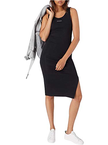 Calvin Klein Jeans Damen Micro Branding Strappy Rib Dress Kleid, Ck Schwarz, Medium