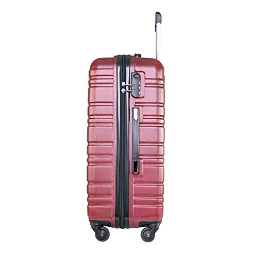 Yardwe Maleta de viaje de 20 pulgadas Hard Shell Trolley Case Rolling Maleta de equipaje Caja de equipaje de viaje de 4 ruedas (rojo)