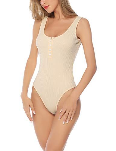 Aibrou Body Vestir para Mujer Mono Bodysuit Sin Mangas Bodies Sexy Bodies Fiesta ( Albaricoque , L )