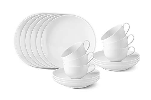 KPM Berlin Urbino Breakfast-Set Porzellan 18-teilig - Porzellan-Set - Teller-Set - Tassen-Set - Frühstücks-Set - das perfekte Porzellan für einen tollen Start in den Tag - Weiß