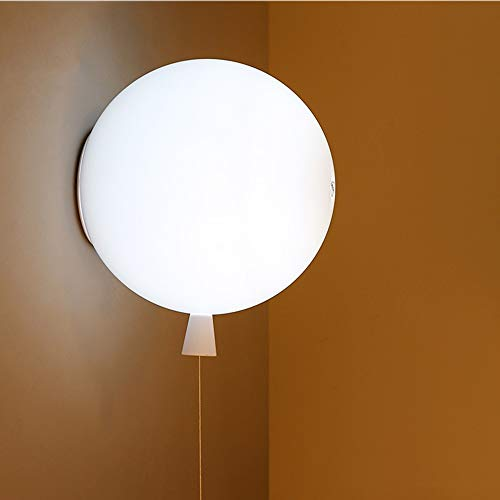 LED Acryl wandlampen, Modern Creative Ronde Balloon Children's Light Huis Opknoping Lamp Boy Girl Slaapkamer Gang Eettafel Lighting Decoratie wandkandelaar (Color : White)