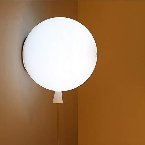 Applique a forma di palloncino E27, Nordic LED Rosso/bianco/giallo rotondo decorativo acrilico appeso a parete lampada Cafe Kindergarten lampada da parete applique (Color : White-30cm)