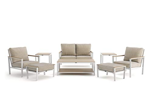 Echo Cushion - 8-Piece Loveseat, Stationary Lounge Chair, Ottoman and Side Table Seating Set - Fog Frame - Beech Wood Armcaps - Sunbrella Cast Ash Fabric
