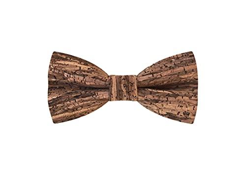 MAY-TIE Fliege aus Kork, Style: Holz-Braun, handgefertigte Korkfliege gebunden und stufenlos verstellbar mit Hakenverschluss